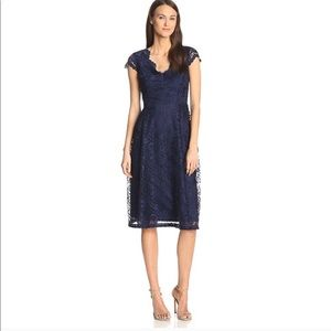 NEW Navy Blue Scalloped V-Neck Lace Dress